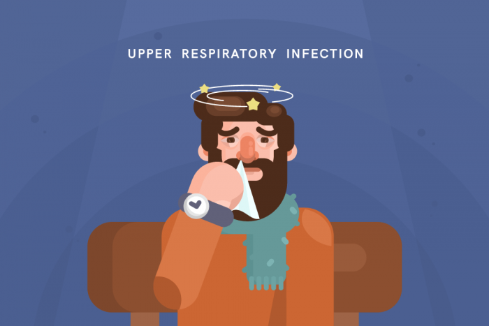 cartoon man with upper respiratory infection treatment